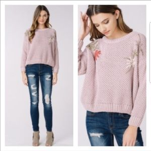 Listicle Cloud Soft Embroidered Sweater NWOT
